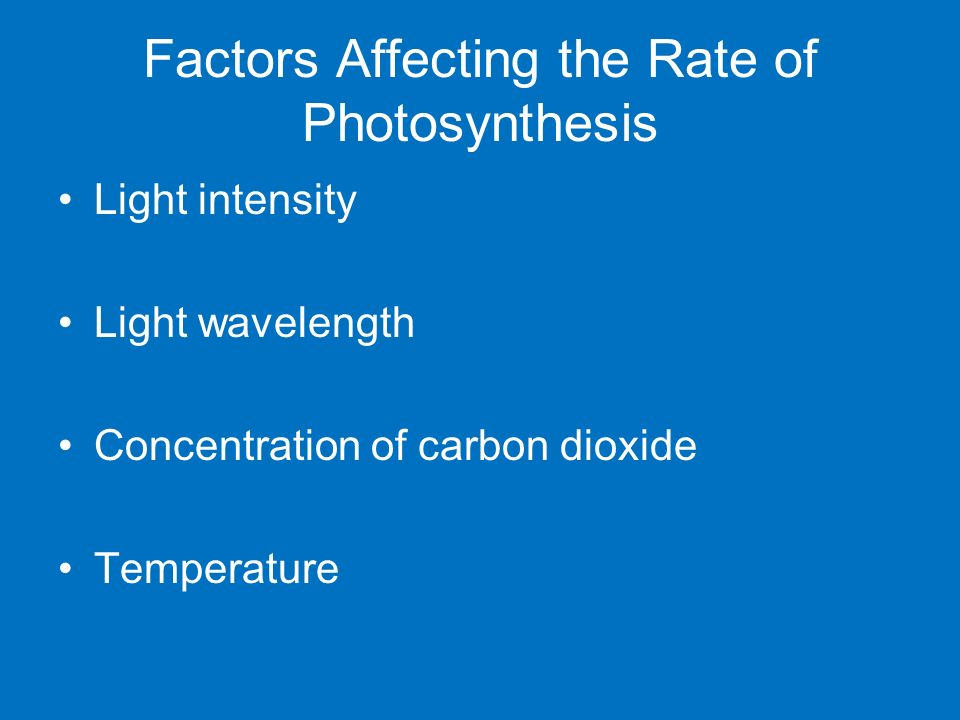 factors affecting the rate of photosynthesis [ 236] factors affecting the rate of photo-synthesis of chlorella at low con-centrations of carbon dioxide and in high illumination by g e briggs and c p whittingham.