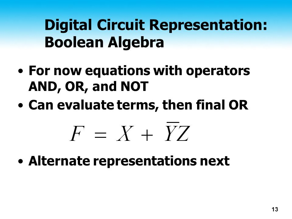 Digital Circuit Representation: Boolean Algebra