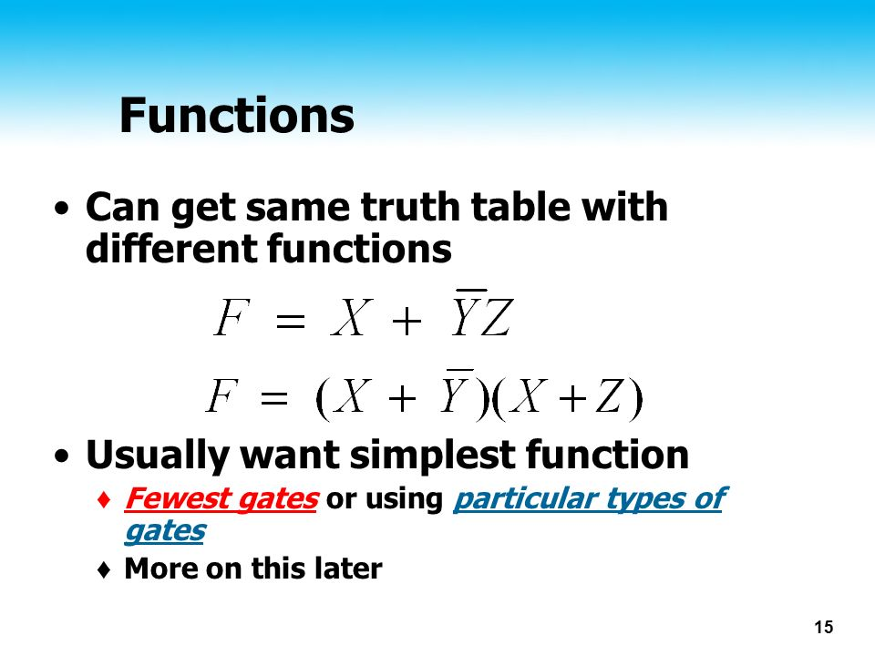 Functions Can get same truth table with different functions