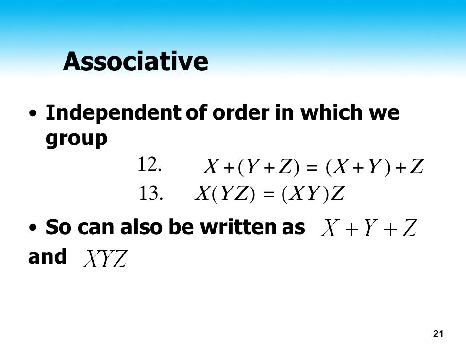Associative Independent of order in which we group