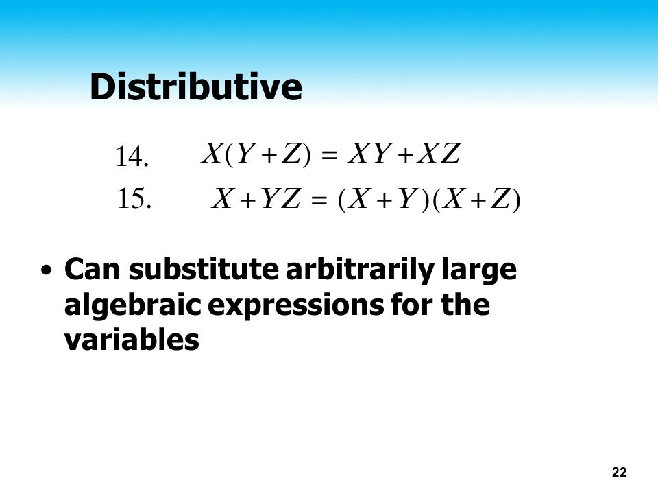Distributive Can substitute arbitrarily large algebraic expressions for the variables