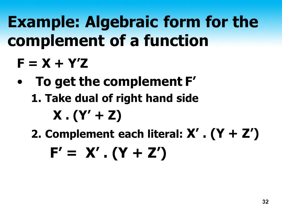 Example: Algebraic form for the complement of a function