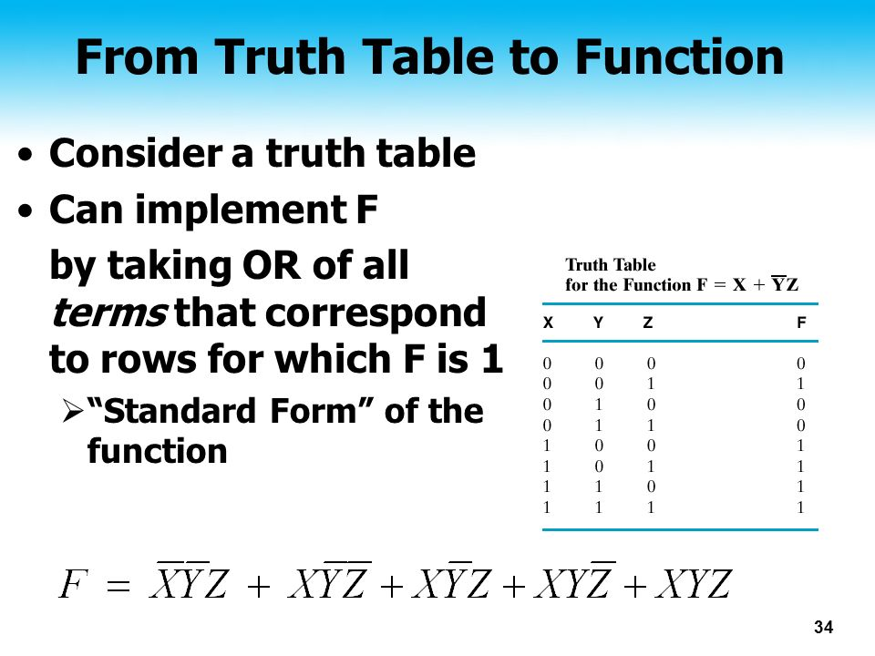 From Truth Table to Function