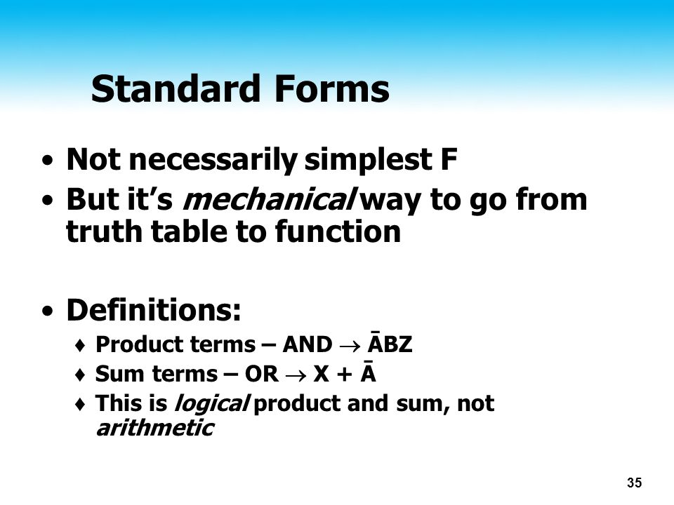 Standard Forms Not necessarily simplest F