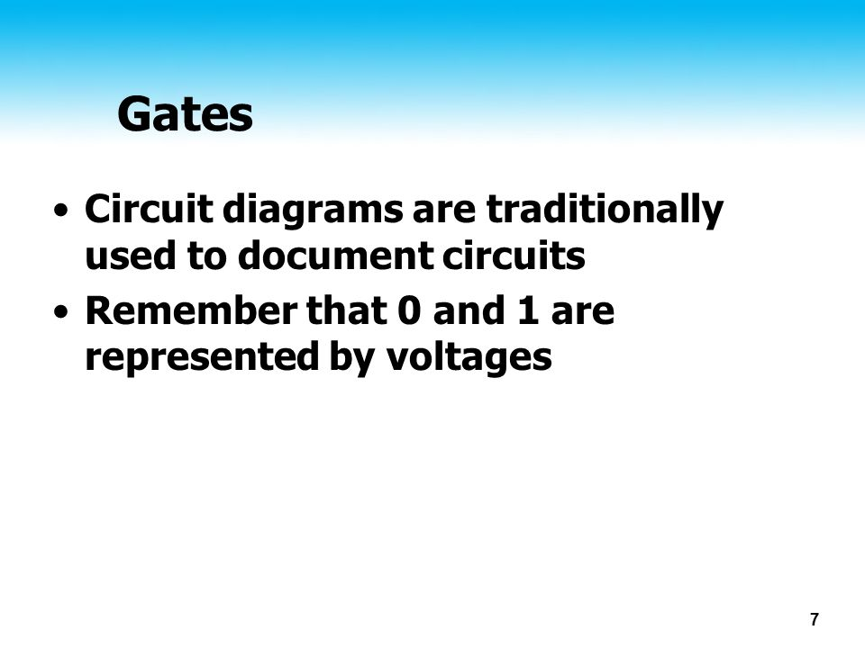 Gates Circuit diagrams are traditionally used to document circuits