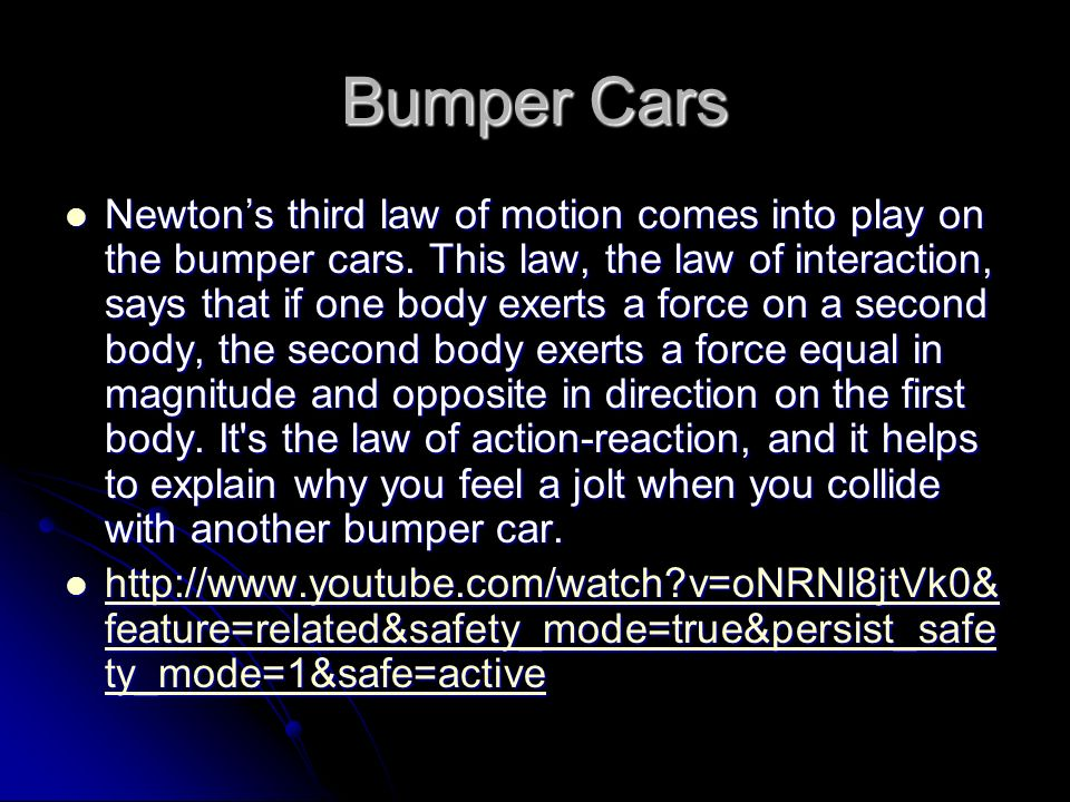 newtons laws relating car safety devices Airbags an automobile airbag is a safety device: its sole purpose is to prevent an occupant of the vehicle from impacting with the surrounding structure typically, in a collision, newton's laws of motion tend to be obeyed very well.