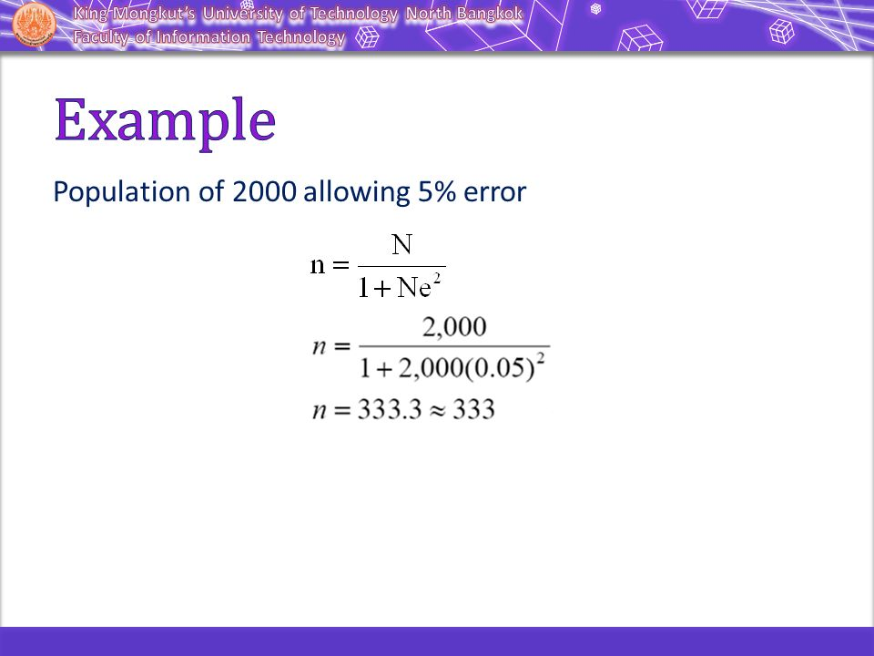 Example Population of 2000 allowing 5% error