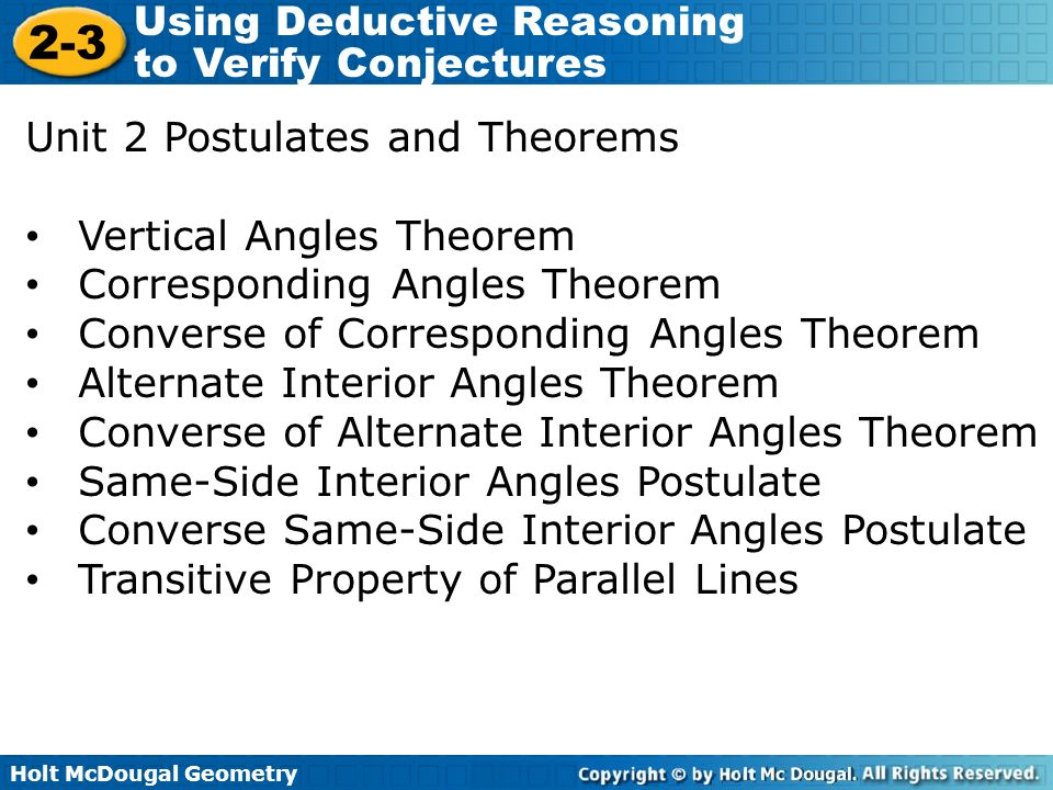 Using Deductive Reasoning To Verify Conjectures Ppt Video Online Download