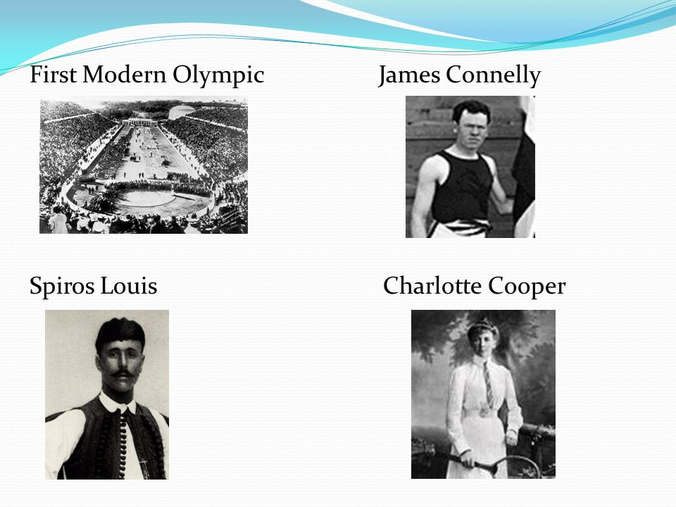 First Modern Olympic James Connelly Spiros Louis Charlotte Cooper
