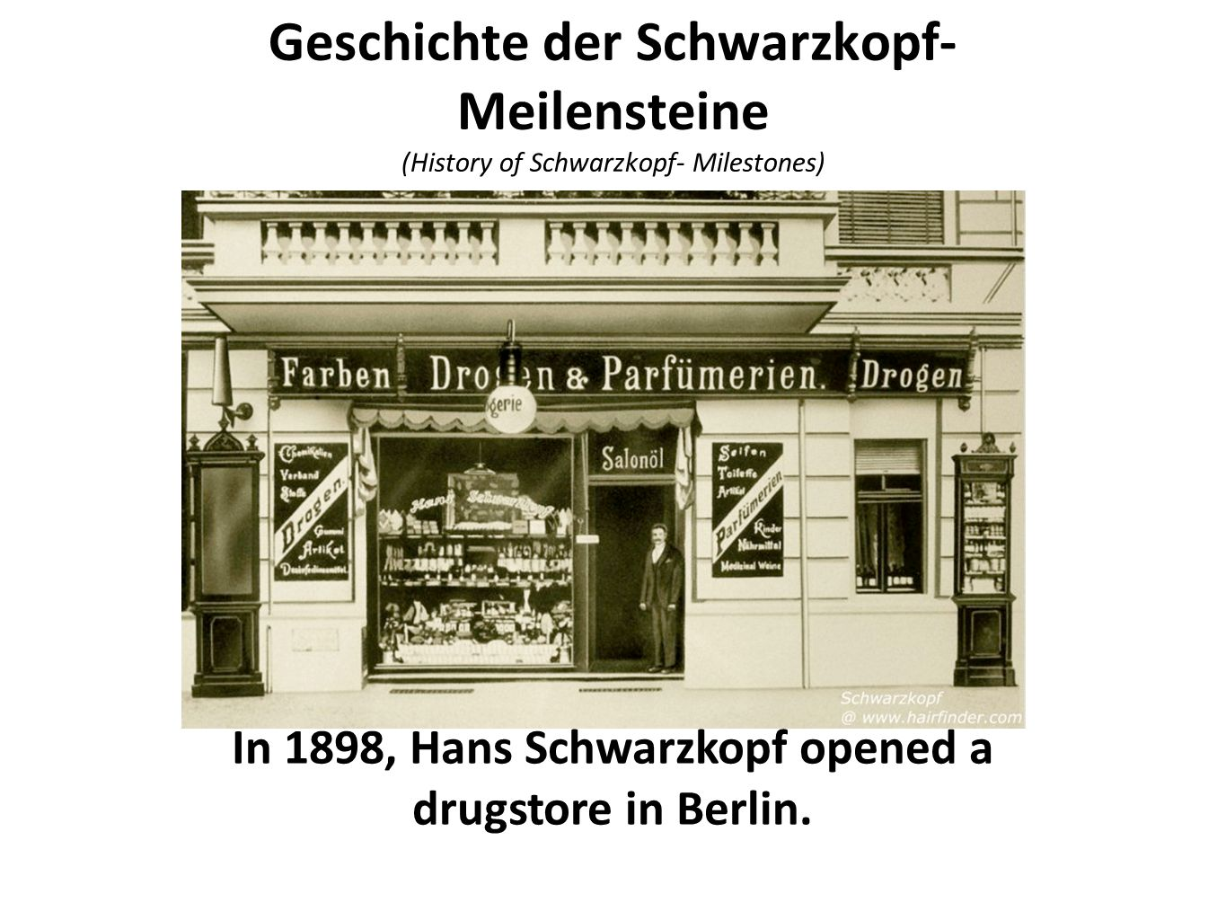 In 1898, Hans Schwarzkopf opened a drugstore in Berlin.