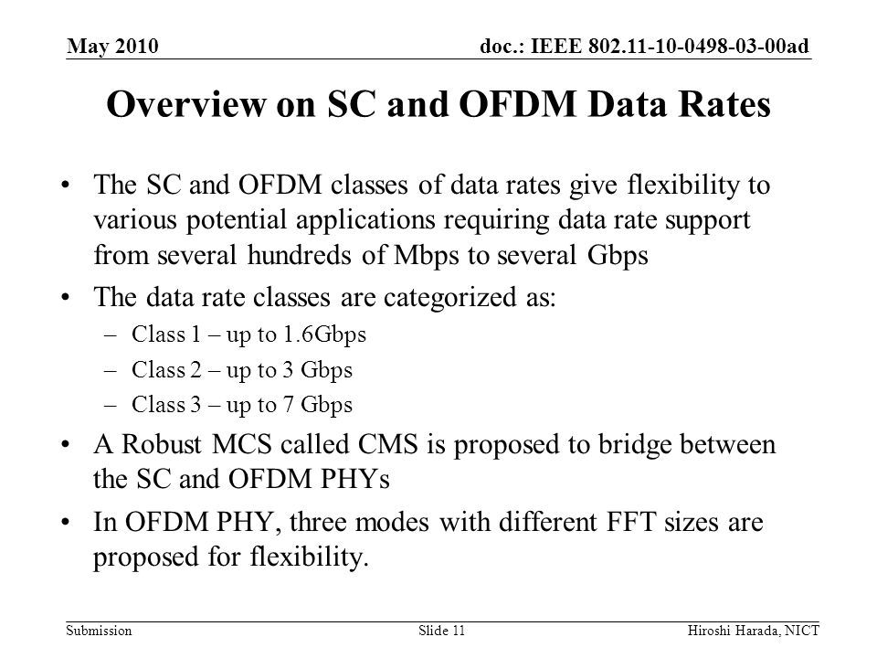 Overview on SC and OFDM Data Rates