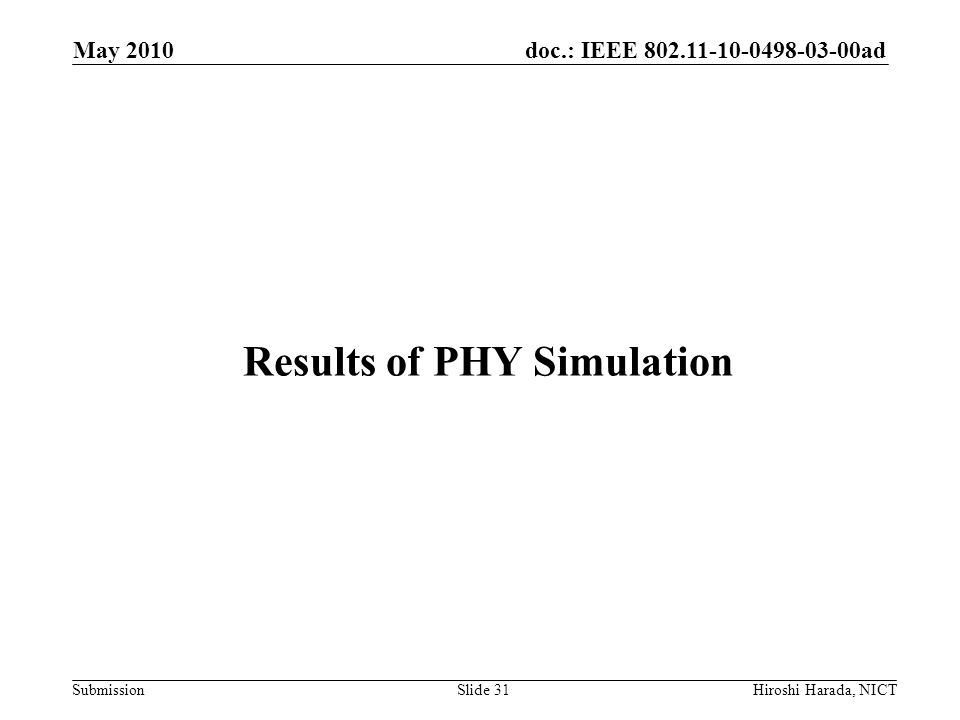 Results of PHY Simulation