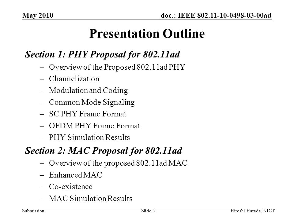 Presentation Outline Section 1: PHY Proposal for 802.11ad