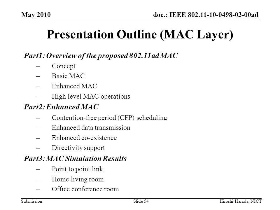 Presentation Outline (MAC Layer)