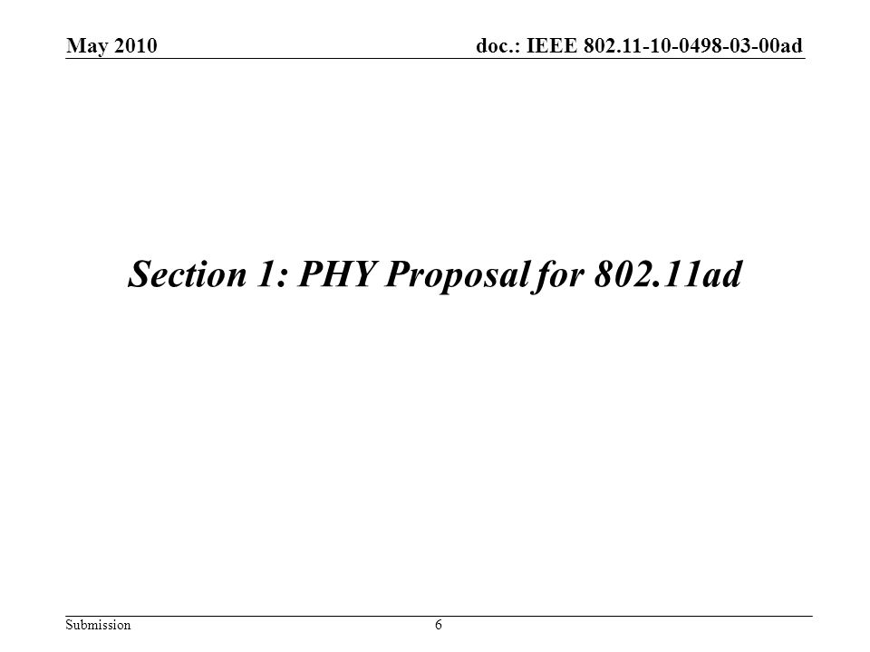 Section 1: PHY Proposal for 802.11ad