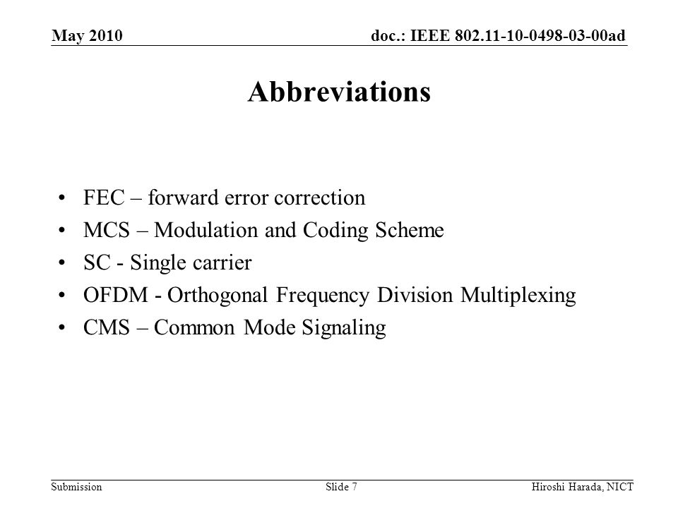 Abbreviations FEC – forward error correction