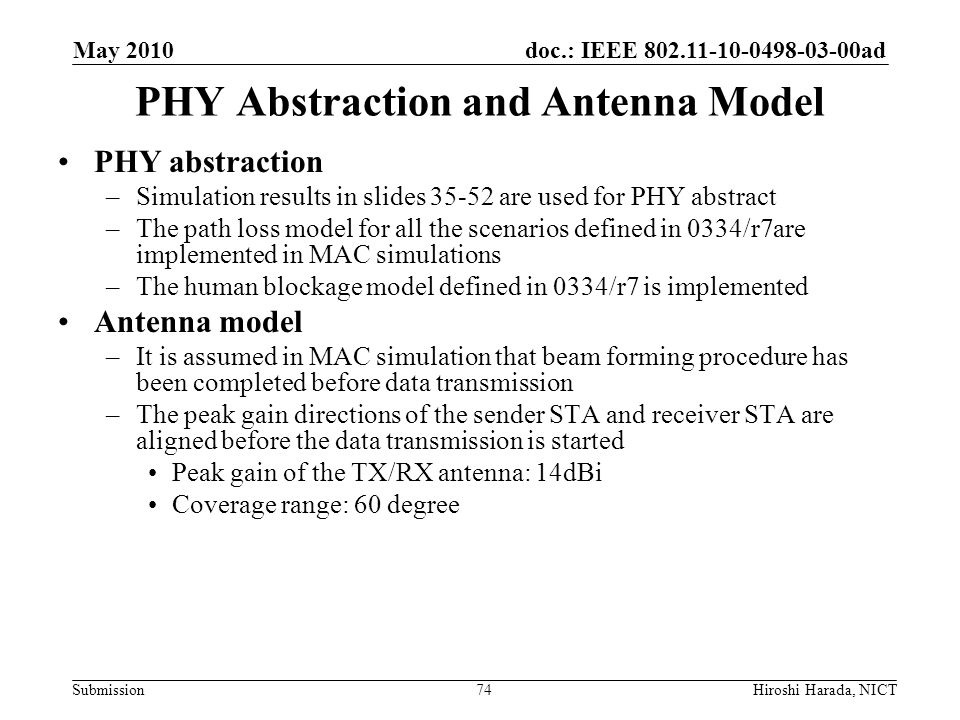 PHY Abstraction and Antenna Model