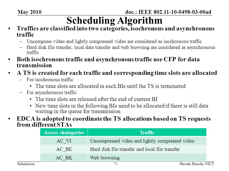 May 2010 Scheduling Algorithm. Traffics are classified into two categories, isochronous and asynchronous traffic.
