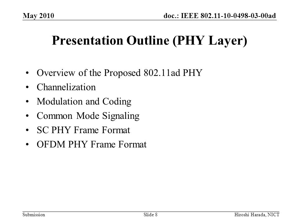 Presentation Outline (PHY Layer)