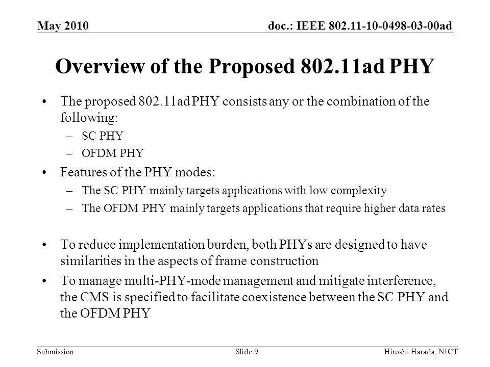 Overview of the Proposed 802.11ad PHY