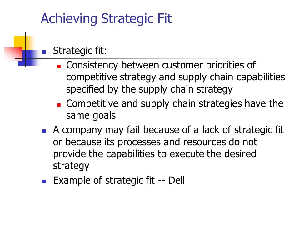 achieving strategic fit Competitive and supply chain strategies competitive strategy: defines the set of  customer needs a firm seeks to satisfy through its products and services.
