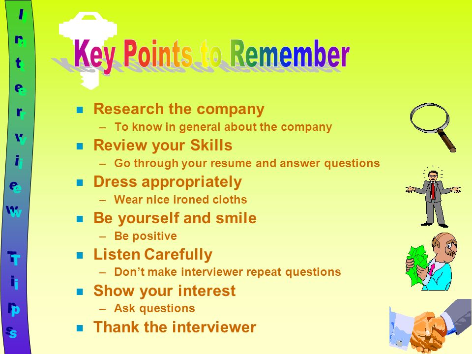 key points to remember interview tips research the company