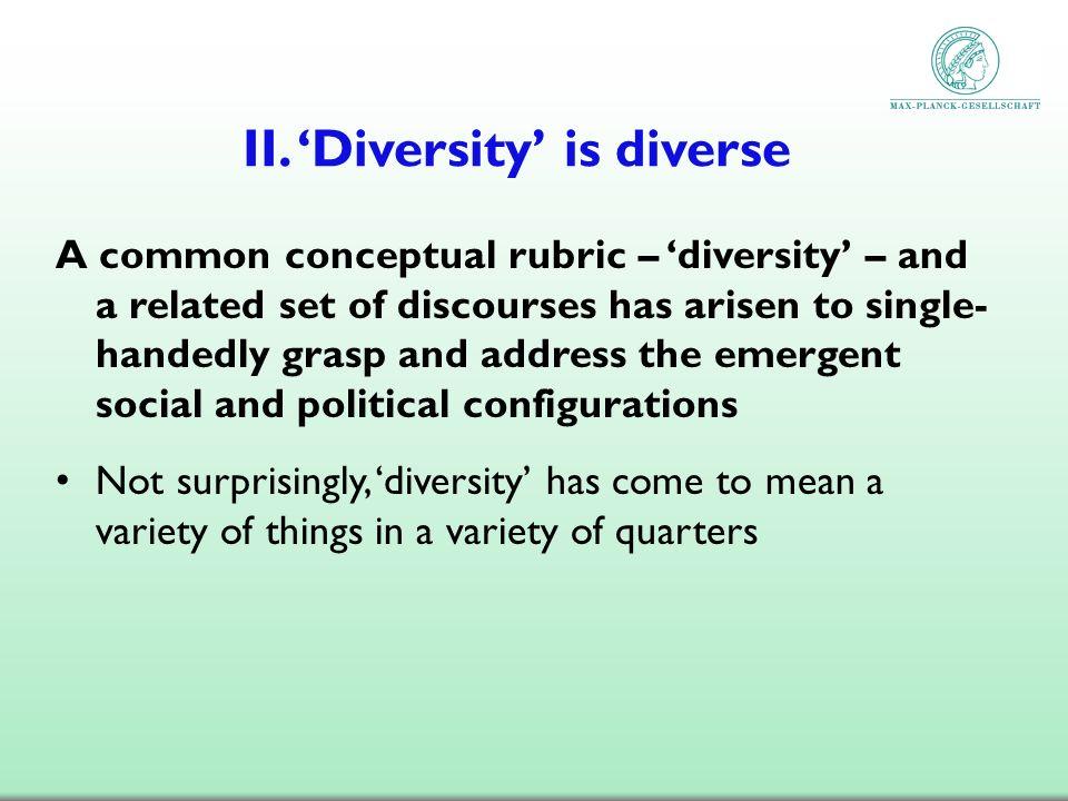 II. 'Diversity' is diverse