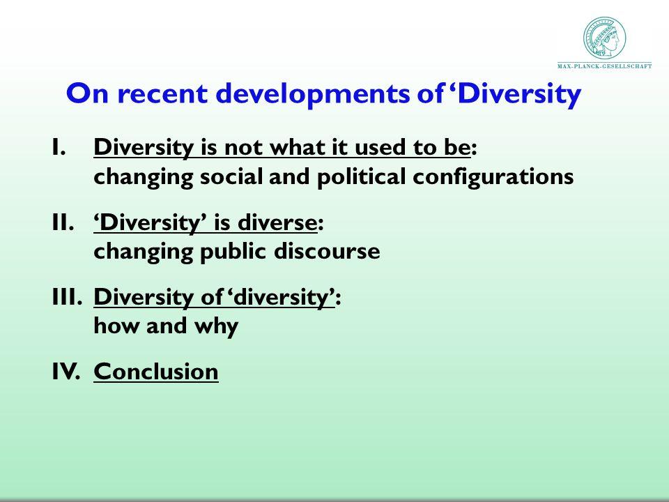 On recent developments of 'Diversity