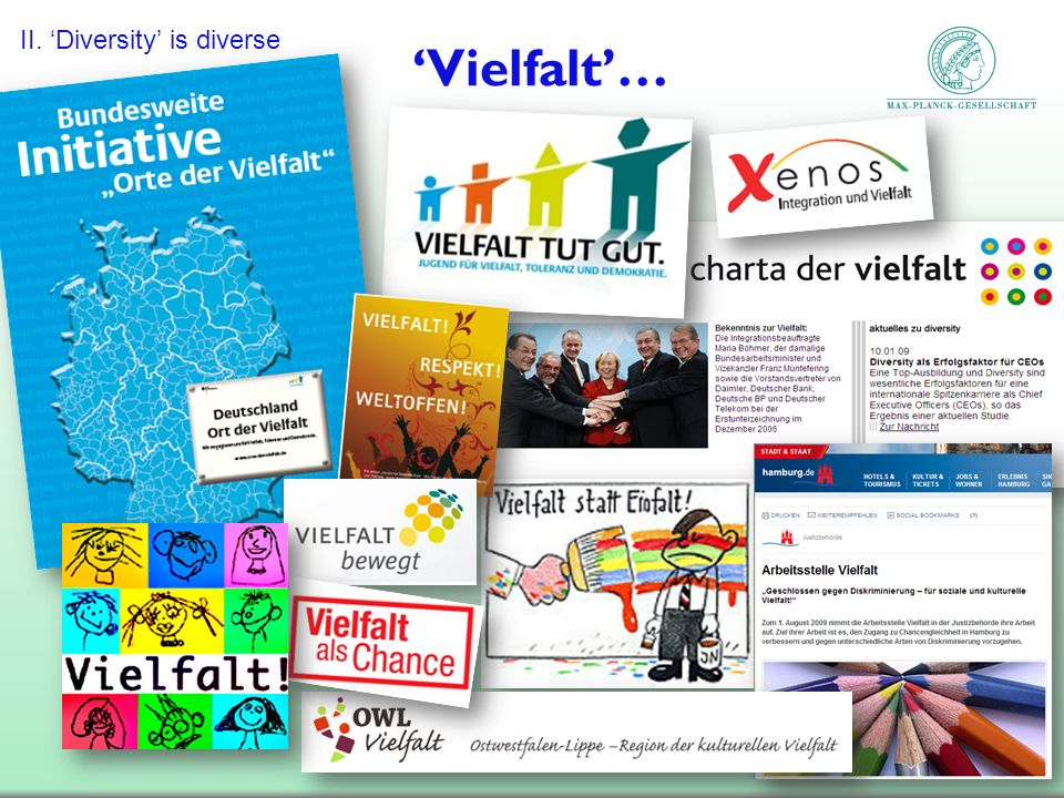 'Vielfalt'… II. 'Diversity' is diverse