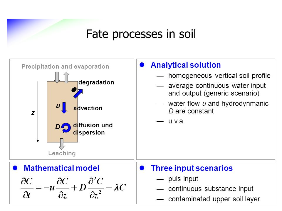 Fate processes in soil Analytical solution l Mathematical model