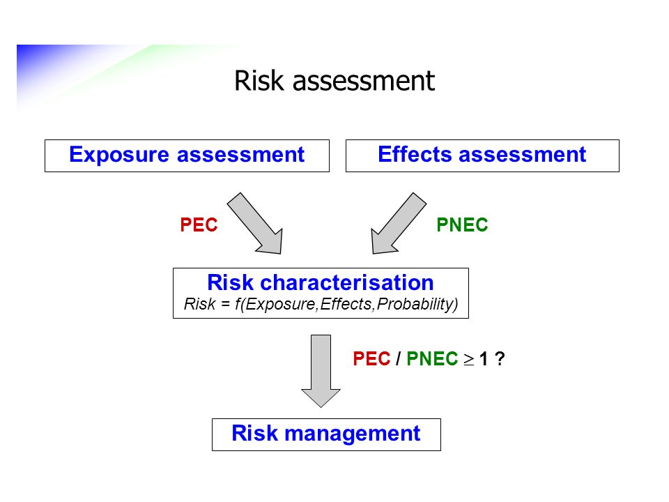 Risk characterisation Risk = f(Exposure,Effects,Probability)