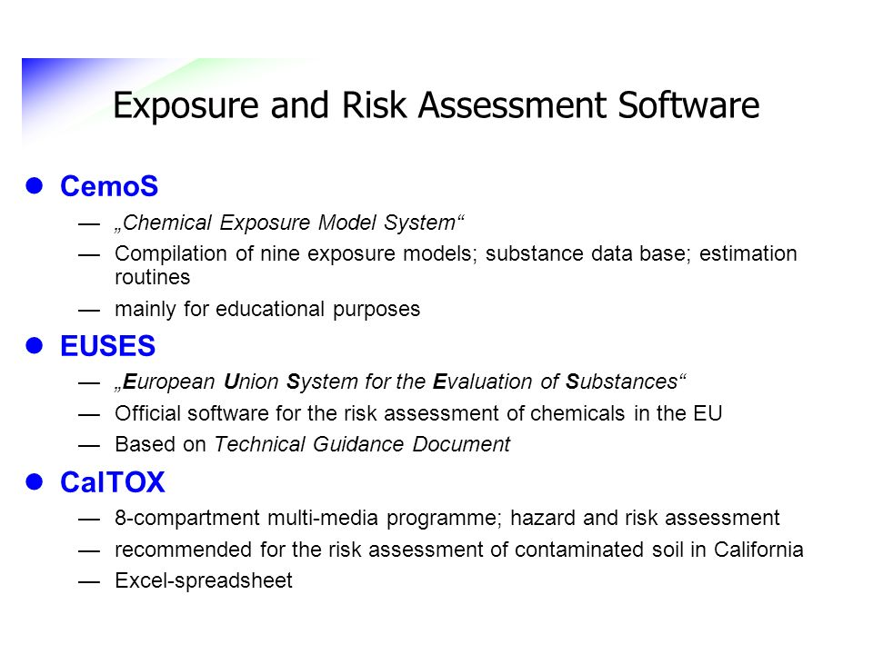 Exposure and Risk Assessment Software