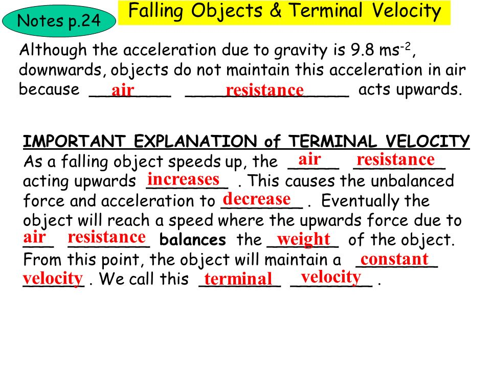 Falling Objects & Terminal Velocity