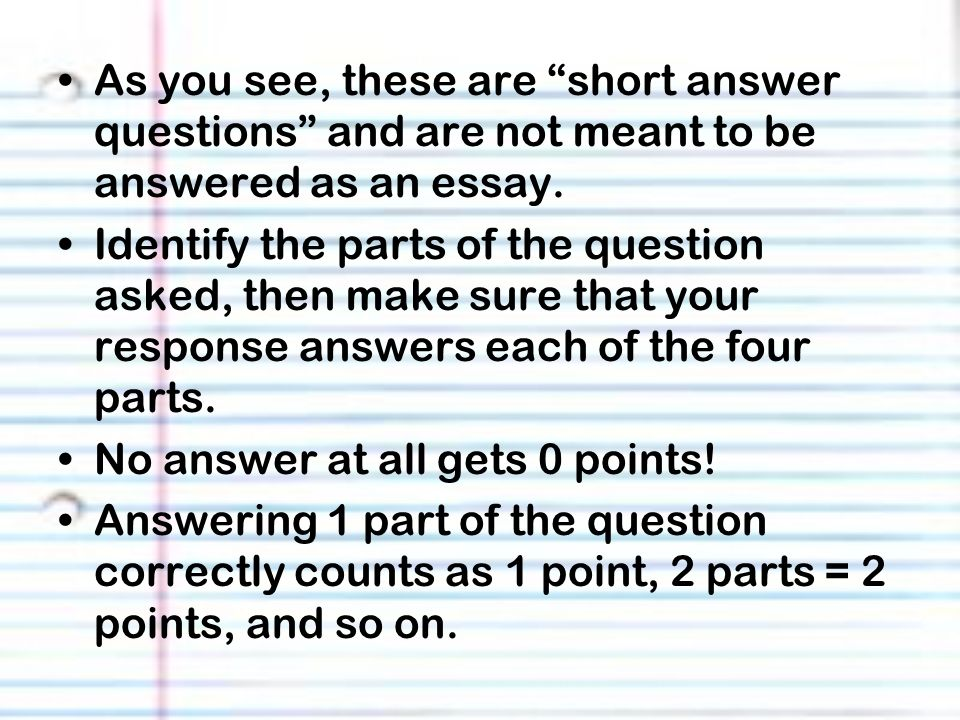 how to start a response to a short answer
