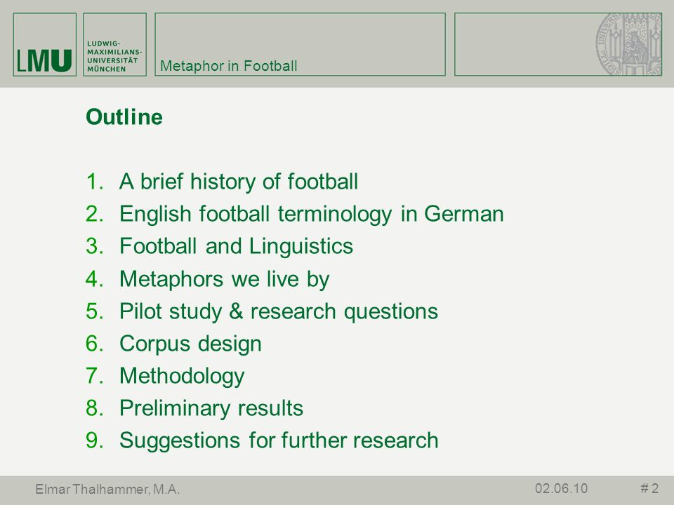 A brief history of football English football terminology in German