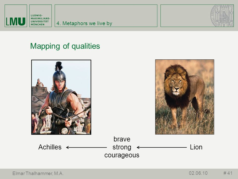Mapping of qualities brave strong courageous Achilles Lion