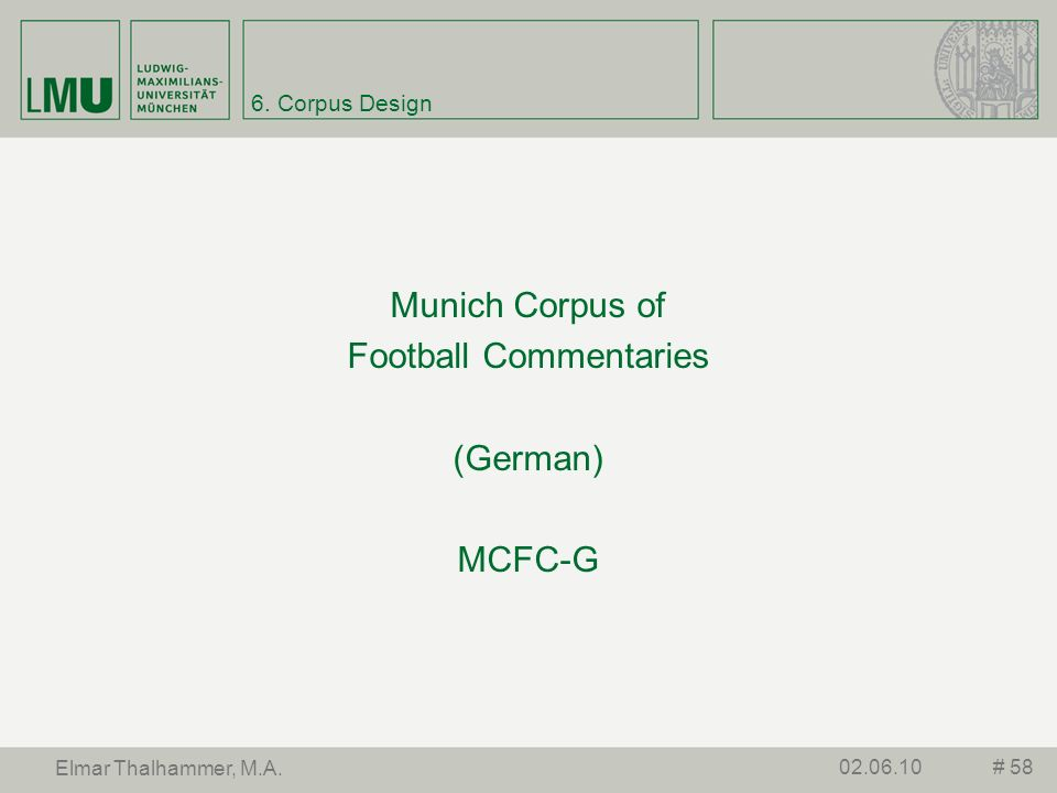 Munich Corpus of Football Commentaries (German) MCFC-G