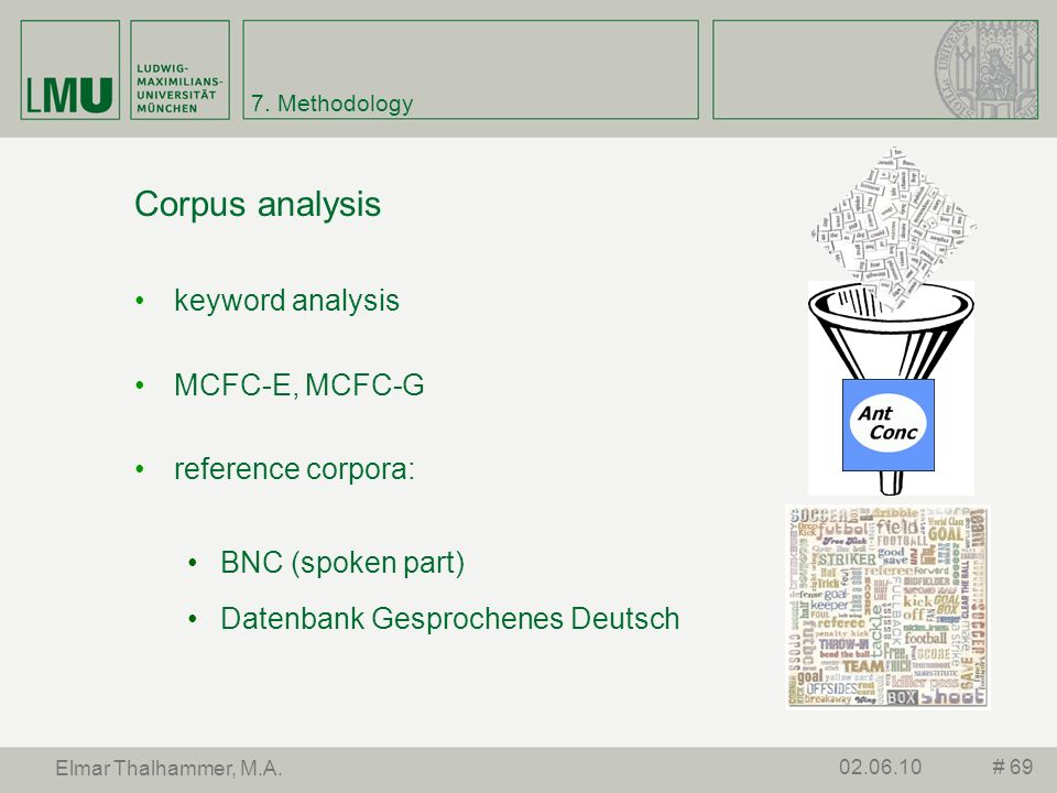 Corpus analysis keyword analysis MCFC-E, MCFC-G reference corpora: