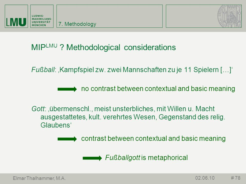 MIPLMU Methodological considerations