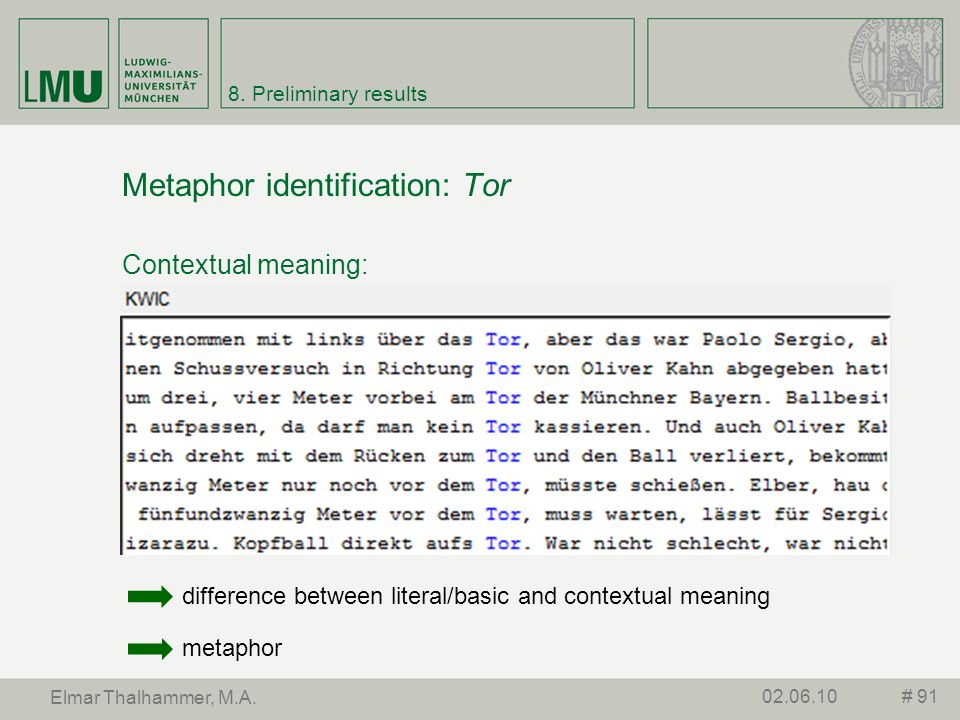 Metaphor identification: Tor