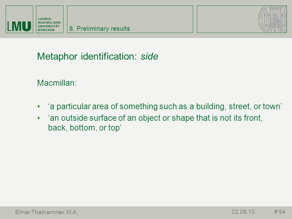Metaphor identification: side
