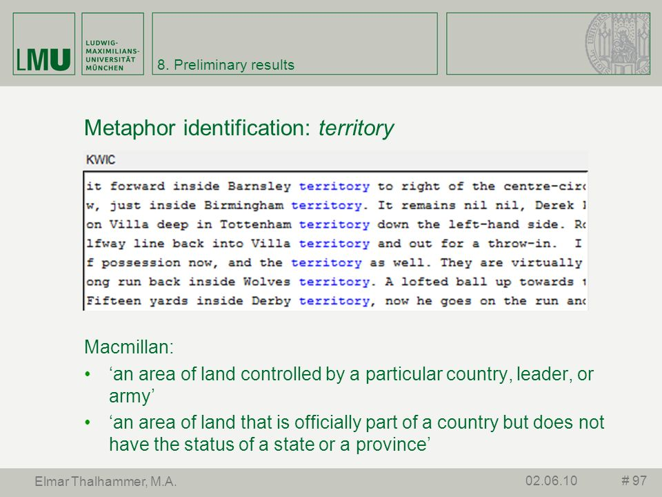 Metaphor identification: territory