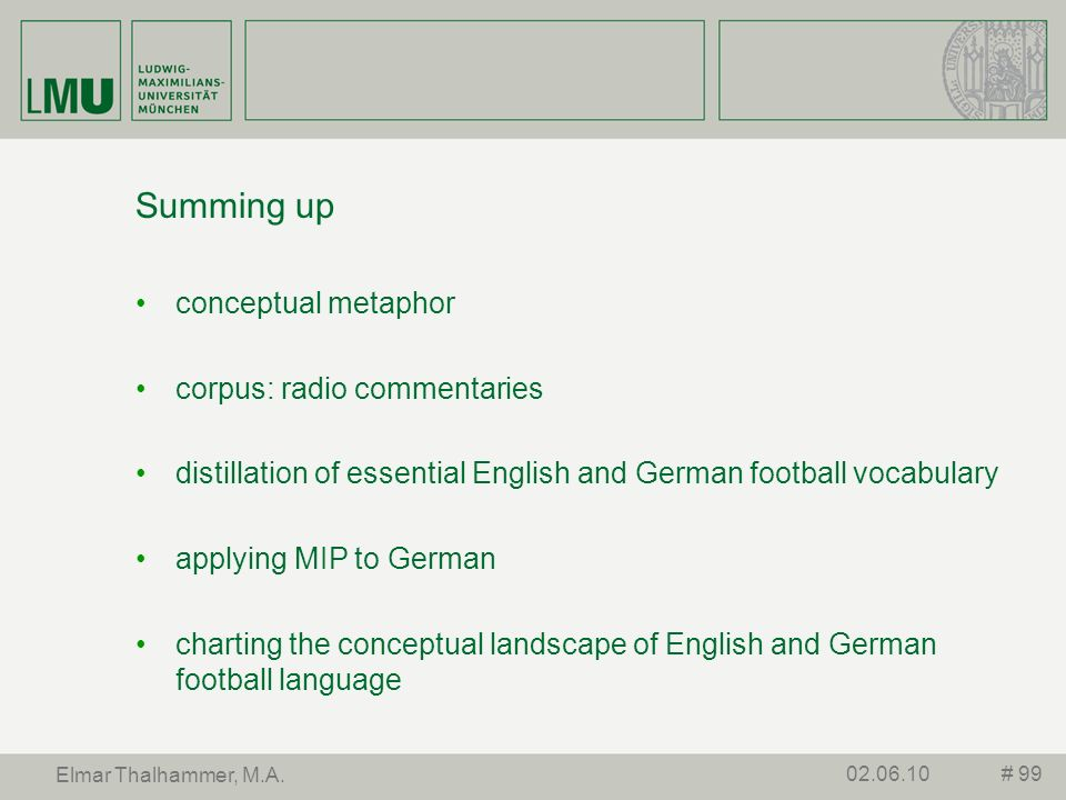 Summing up conceptual metaphor corpus: radio commentaries
