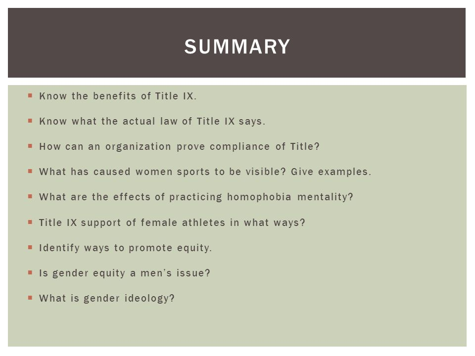 women and sports: the impact of title ix essay Our research is the foundation for everything we do and helps identify needs that the women's sports foundation programs can fulfill our research is  title ix and.