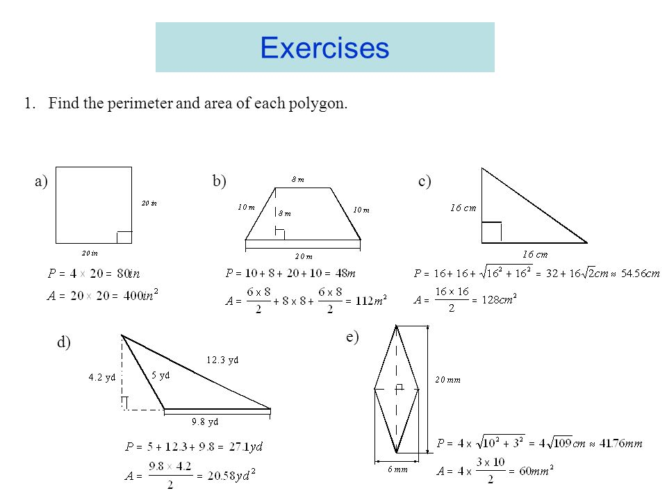 Perimeter And Area Of Polygons Circumference And Area Of