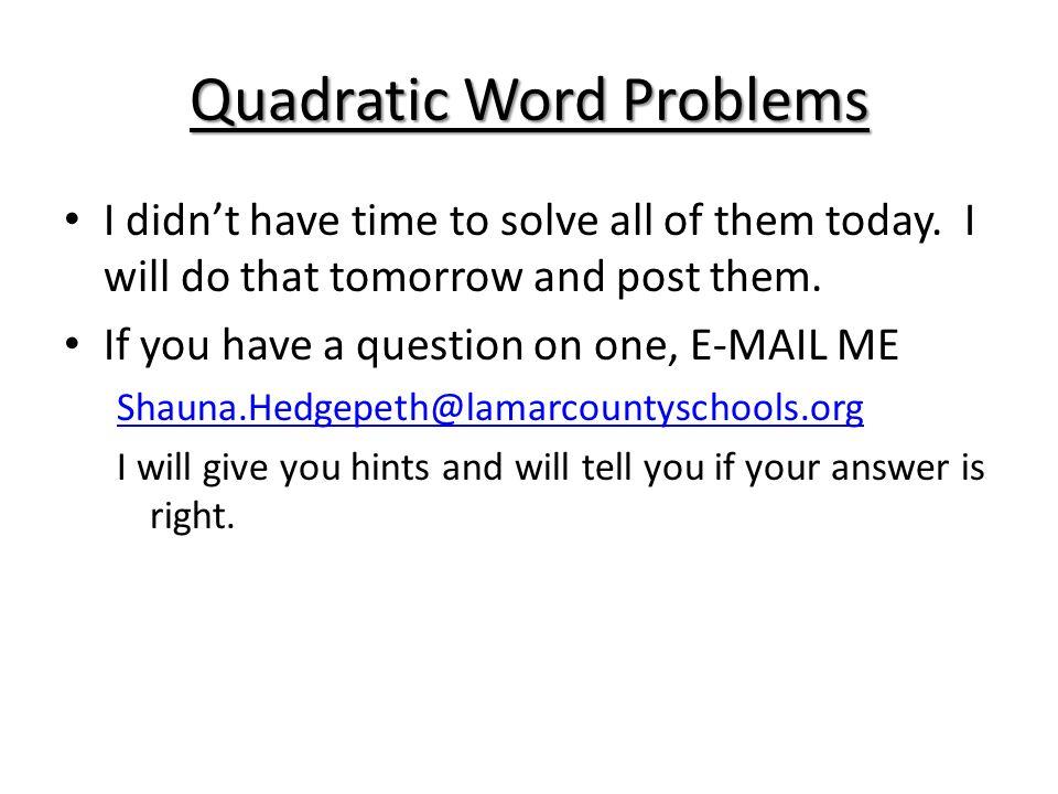 Quadratic Word Problems ppt download – Quadratic Word Problems Worksheet