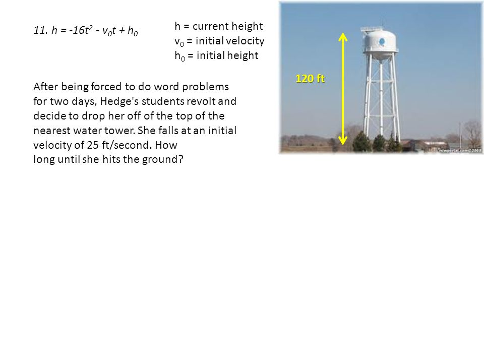 Quadratic Word Problems Ppt Video Online Download - Current height