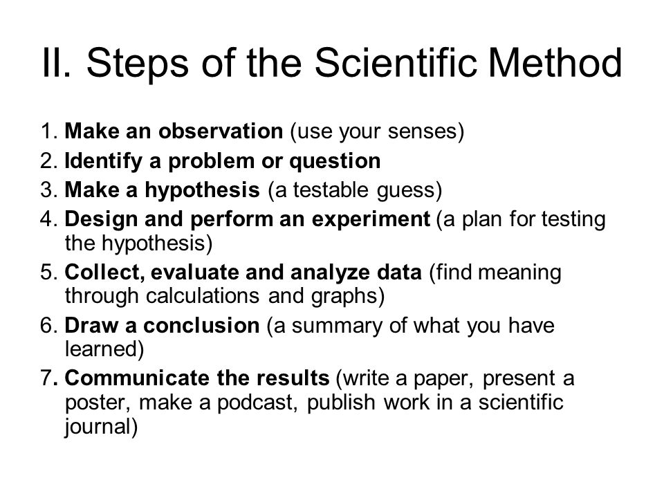 a description of the scientific method Scientific method steps - scientific method steps can vary, but the different versions all incorporate the same concepts and principals learn about the scientific method steps.