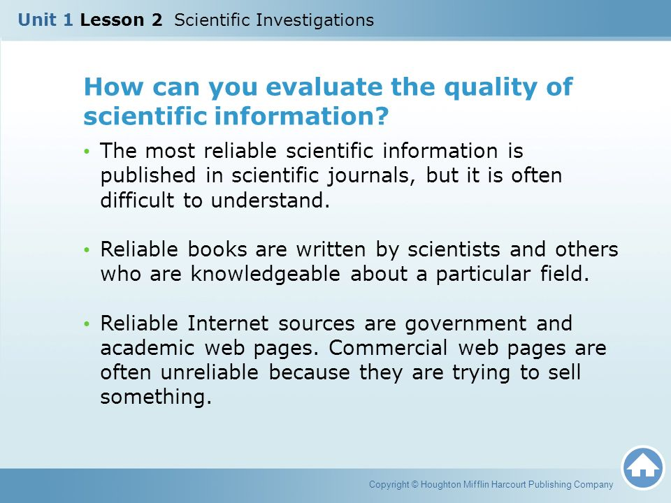 How can you evaluate the quality of scientific information