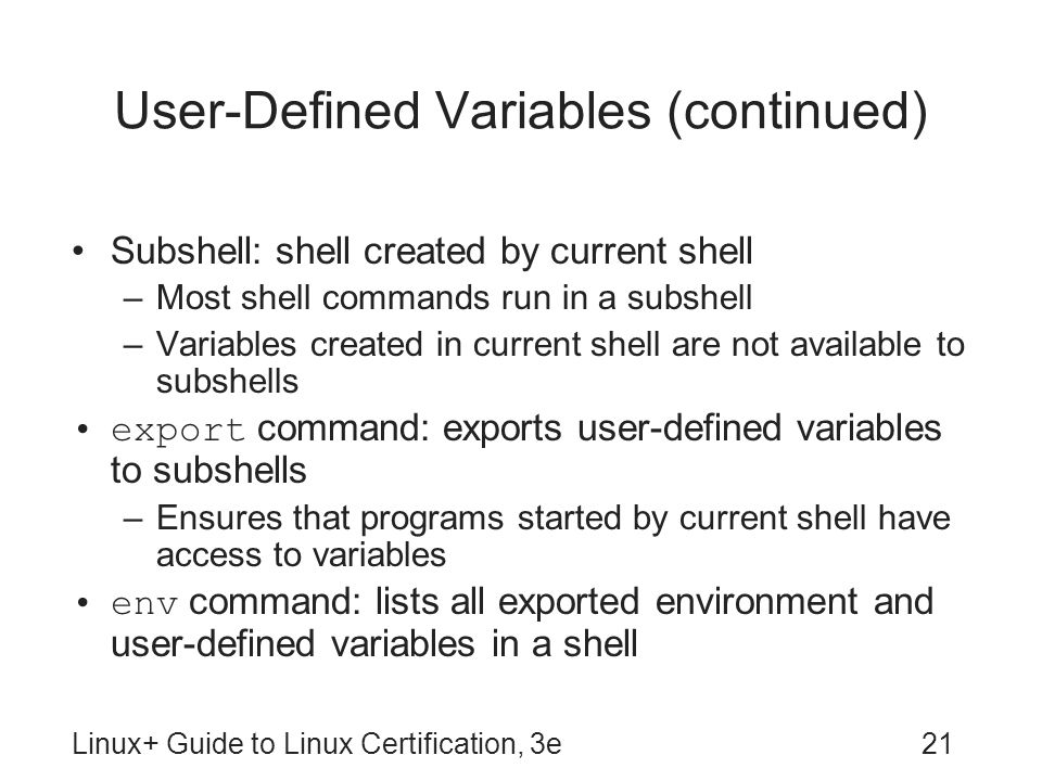 User-Defined Variables (continued)